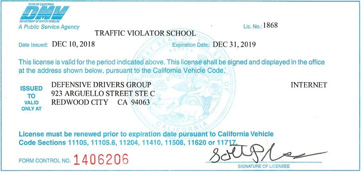 California DMV as an Internet Traffic Violator School (TVS) for all California counties and cities.